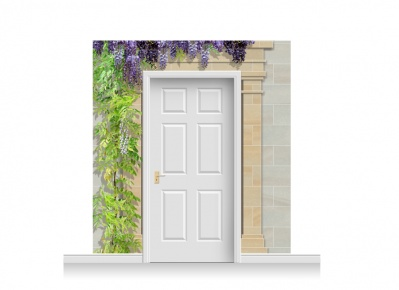 3-Drop Cardiff Door Set Mural (240cm) with Wistaria