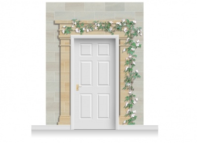 3-Drop Cardiff Door Set Mural (280cm) with Clematis
