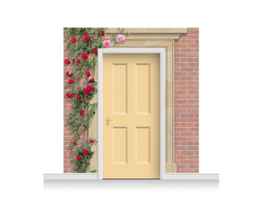 3-Drop Darlington Door Set Mural (240cm) with Roses + Door Print