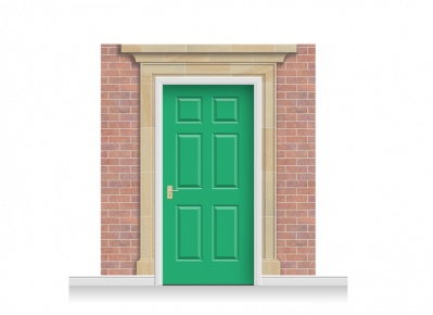 3-Drop Darlington Door Set Mural (240cm) + Door Print