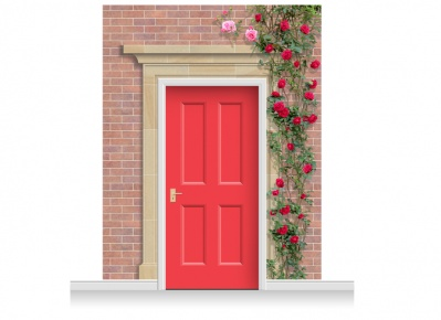 3-Drop Darlington Door Set Mural (280cm) with Roses + Door Print