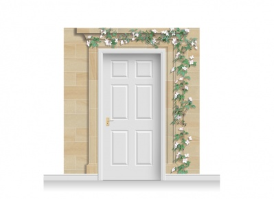 3-Drop Dartford Door Set Mural (240cm) with Clematis