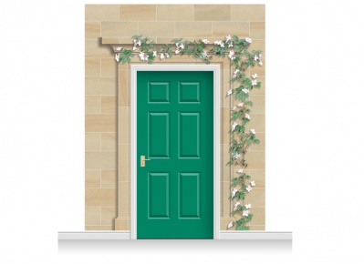 3-Drop Dartford Door Set Mural (280cm) with Clematis + Door Print
