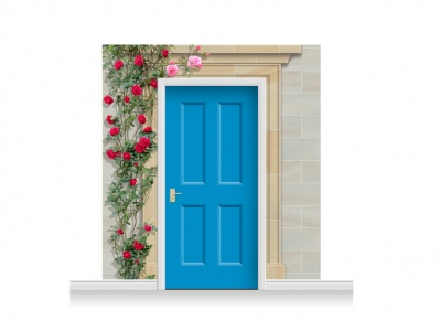 3-Drop Dorchester Door Set Mural (240cm) with Roses + Door Print