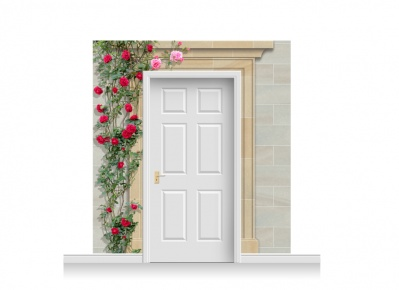 3-Drop Dorchester Door Set Mural (240cm) with Roses