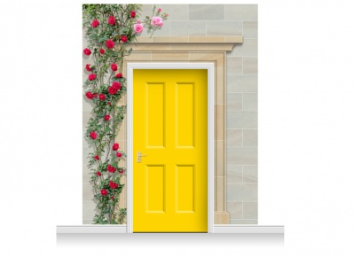 3-Drop Dorchester Door Set Mural (280cm) with Roses + Door Print