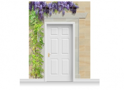 3-Drop Edinburgh Door Set Mural (280cm) with Wistaria