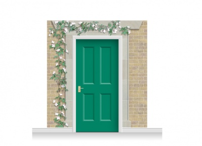 3-Drop Eltham Door Set Mural (240cm) with Clematis + Door Print