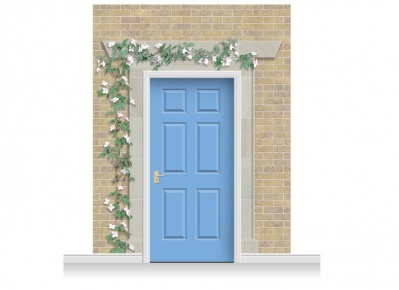 3-Drop Eltham Door Set Mural (280cm) with Clematis + Door Print