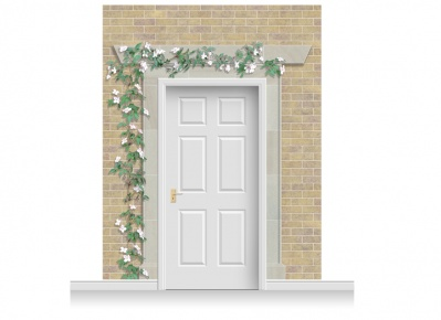 3-Drop Eltham Door Set Mural (280cm) with Clematis