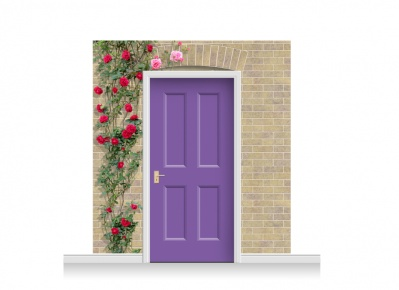 3-Drop Kensington Door Set Mural (240cm) with Roses + Door Print