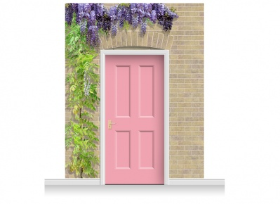 3-Drop Kensington Door Set Mural (280cm) with Wistaria + Door Print