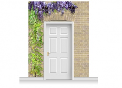 3-Drop Kensington Door Set Mural (280cm) with Wistaria