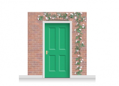 3-Drop Kingston Door Set Mural (240cm) with Clematis + Door Print