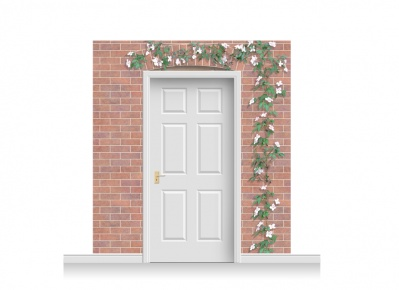 3-Drop Kingston Door Set Mural (240cm) with Clematis