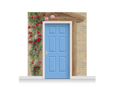 3-Drop Padstow Door Set Mural (240cm) with Roses + Door Print