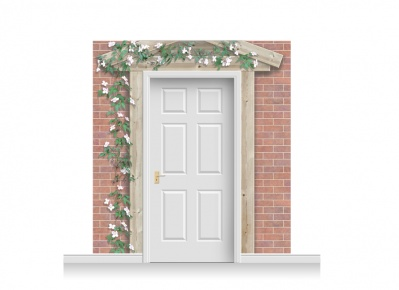 3-Drop Peterborough Door Set Mural (240cm) with Clematis