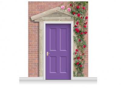 3-Drop Peterborough Door Set Mural (280cm) with Roses + Door Print