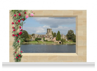 3-Drop Scenic Mural - Derbyshire Village (240cm)