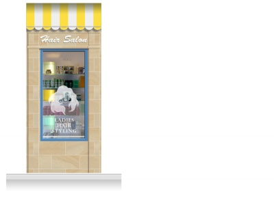 1-Drop Cheltenham Shop Front 'Hair Salon' Mural (280cm)