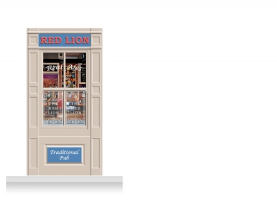 1-Drop Durham Shop Front 'Red Lion Pub' Mural (240cm)