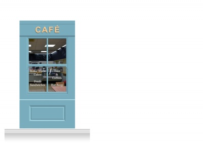 1-Drop Leamington Shop Front 'Café' Mural (240cm)
