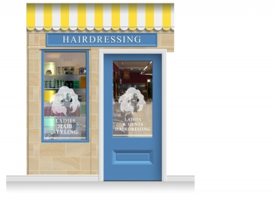 2-Drop Cheltenham Shop Front 'Hairdresser' Mural (280cm) + Door Print