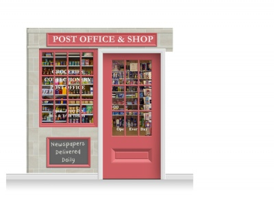 2-Drop Colchester Shop Front 'Post Office & Shop' Mural (240cm) + Door Print