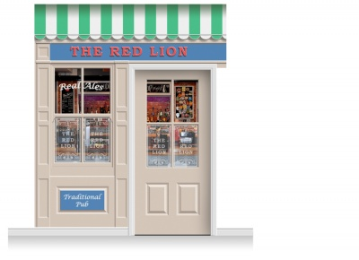 2-Drop Durham Shop Front 'Red Lion Pub' Mural (280cm) + Door Print