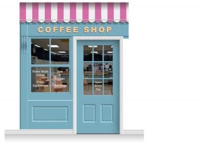 2-Drop Leamington Shop Front 'Coffee Shop' Mural (280cm) + Door Print