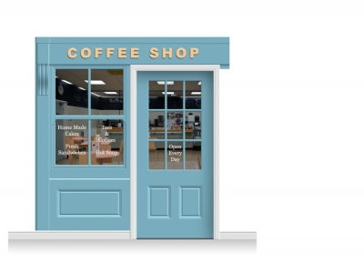 2-Drop Leamington Shop Front 'Coffee Shop' Mural (240cm) + Door Print