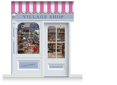 2-Drop Taunton Shop Front 'Village Shop' Mural (280cm) + Door Print