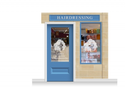 2-Drop Cheltenham Shop Front 'Hairdresser' Mural (240cm) + Door Print