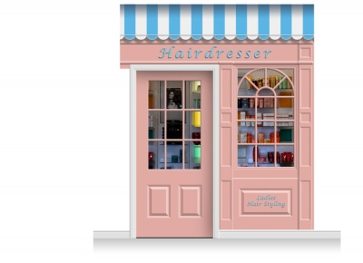 2-Drop Stamford Shop Front 'Hairdresser' Mural (280cm) + Door Print