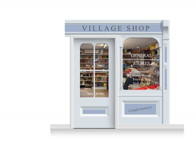 2-Drop Taunton Shop Front 'Village Shop' Mural (240cm) + Door Print