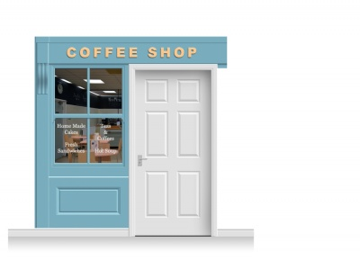 2-Drop Leamington Shop Front 'Coffee Shop' Mural (240cm)
