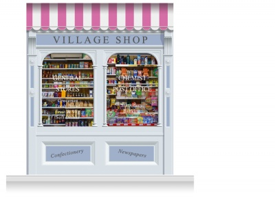 2-Drop Taunton Shop Front 'Village Shop' Mural (280cm)