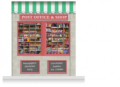 2-Drop Colchester Shop Front 'Post Office & Shop' Mural (280cm)
