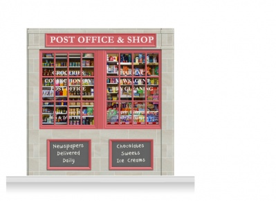 2-Drop Colchester Shop Front 'Post Office & Shop' Mural (240cm)