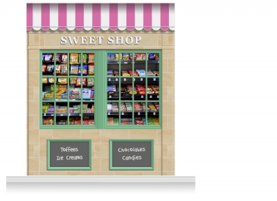 2-Drop Blackburn Shop Front 'Sweet Shop' Mural (280cm)