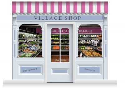 3-Drop Taunton Shop Front 'Village Shop' Mural (280cm) + Door Print