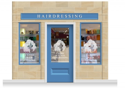 3-Drop Cheltenham Shop Front 'Hairdresser' Mural (280cm) + Door Print