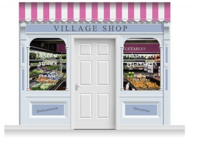 3-Drop Taunton Shop Front 'Village Shop' Mural (280cm)