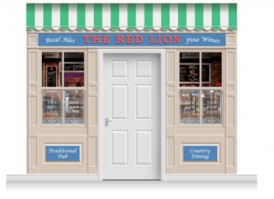 3-Drop Durham Shop Front 'Red Lion Pub' Mural (280cm)