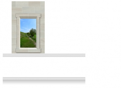 1-Drop (120cm) Window Frame Mural - Derbyshire Path (190cm)