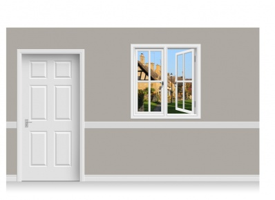 Self-Adhesive Window Stick-Up - Cotswold Village (112cm x 120cm)