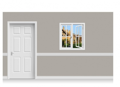 Self-Adhesive Window Stick-Up - Cotswold Village (94cm x 100cm)