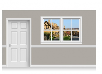 Self-Adhesive Window Stick-Up - Cotswold Village (180cm x 120cm)