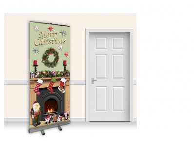 Pop-Up Roller Banner - Christmas Fireplace with Green Wall