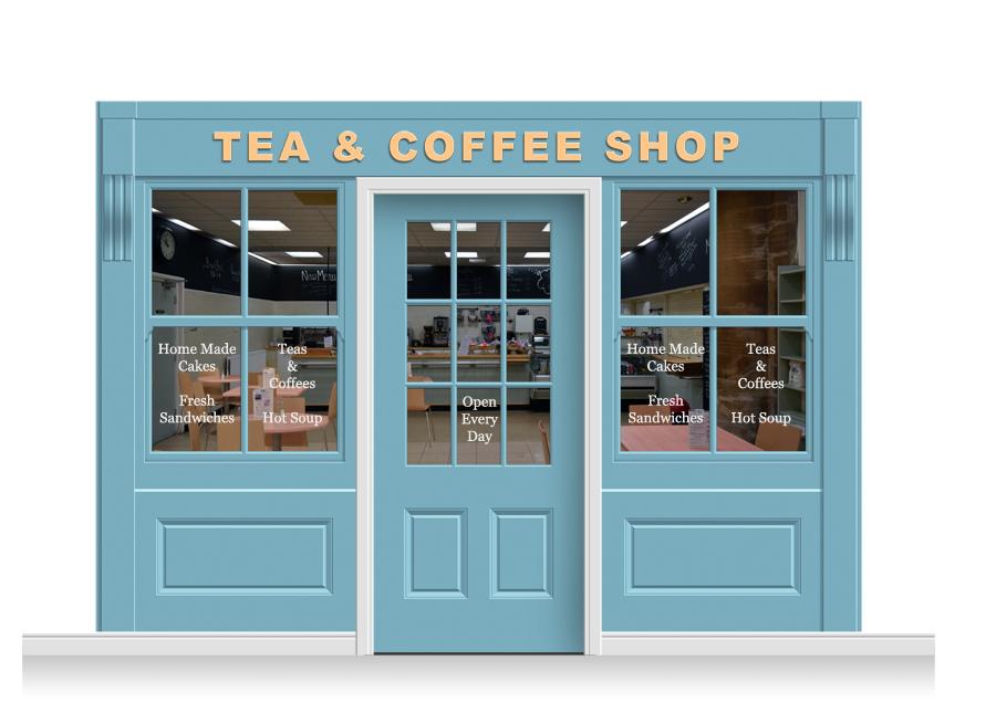3 Drop Leamington Shop Front Tea Amp Coffee Shop Mural